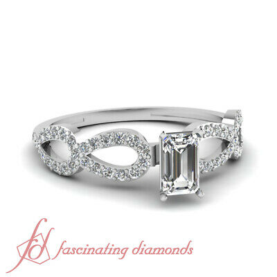 1 Ct Emerald Cut Diamond Infinity Pave Set Engagement Ring 14K VS2-E Color GIA