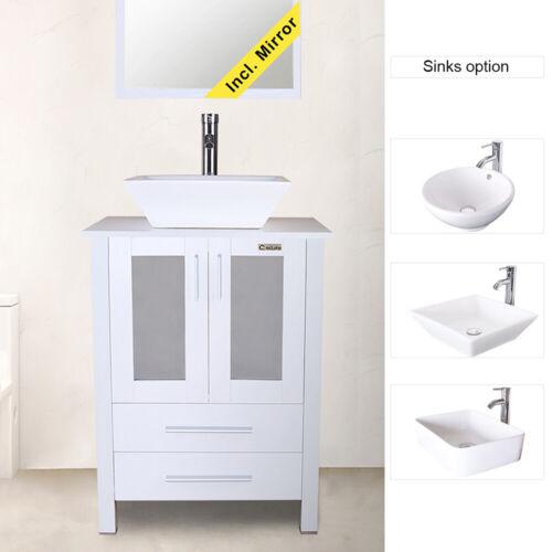 """24"""" White Bathroom Vanity Cabinet Single Wood & Ceramic Vessel Sink Top Modern"""