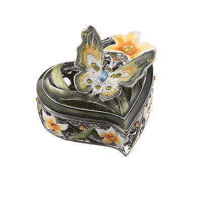 Decorative Enamel Faberge Trinket Jewel Box Heart with Butterfly 2.2'' x 1.2'', used for sale  Shipping to Canada