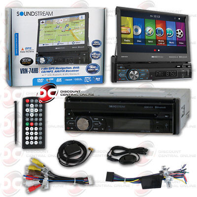 SOUNDSTREAM VRN-74HB CAR 1-DIN DVD GPS BLUETOOTH STEREO W/ MOTORIZED 7