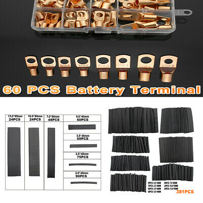 441pcs Copper Wire Ring Terminal Lug Sc Battery Welding Bare Connectors Set Kits