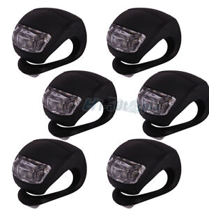 6pcs LED Bike Light Bicycle White Lamp Waterproof Head Tail Wheel Black Silicone