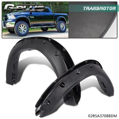 Pocket Rivet Style Bolt-On Fender Flares For 09-18 DODGE RAM 1500 Textured Black