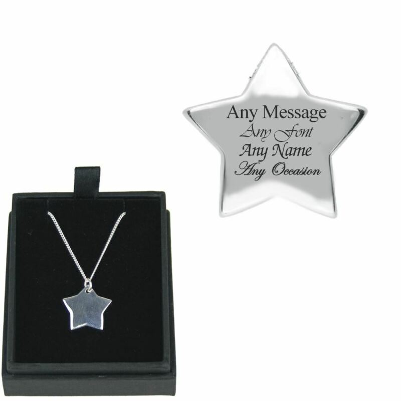 Personalised+Engraved+Silver+Necklace+with+Star+Pendant%2C+Gift+Boxed