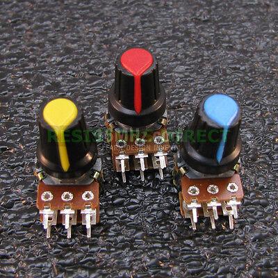 3x 100k Ohm Linear Taper Dual Gang Rotary Potentiometer B100k Wknobs 3pcs U35