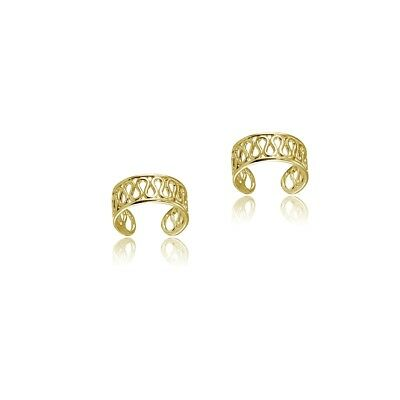 Yellow Gold Flashed Sterling Silver Polished Filigree Swirl Clip On Ear Cuff