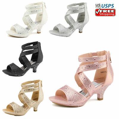 Kids Toddles Girls Fashion Dress Shoes Low Heels Sandals 1.5inch Pumps