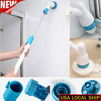 Bathroom Floor Scrubber Brush Tub Tile Cleaning Shower Rotating Cordless Spinnin