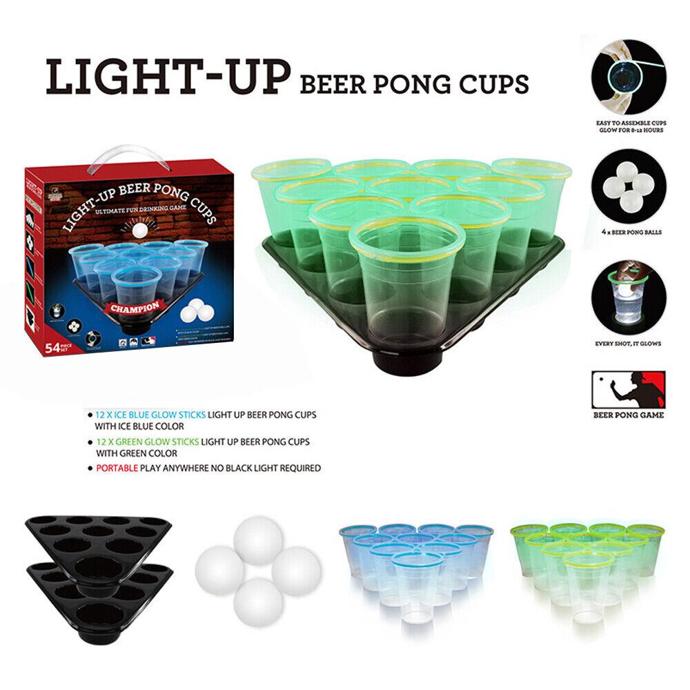 Beer Pong Game Set 4 Ping Pong Balls & 20 Reusable Plastic C