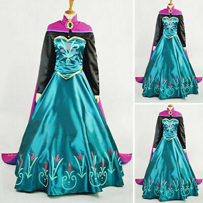 Princess Adult Halloween Costumes (US Adult Princess Anna Cosplay Costume Halloween Fancy Stage Dress Set)