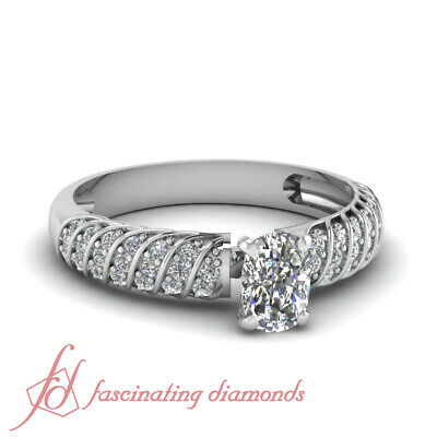 .70 Ct GIA Certified Cushion Cut:Very Good Diamond Engagement Ring Pave Set GIA