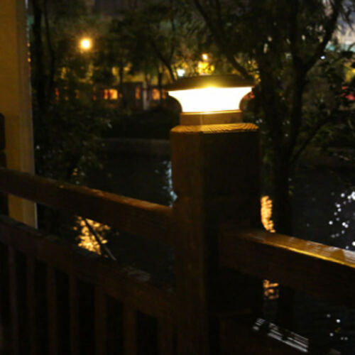 Solar Powered Outdoor Garden LED White Lights Post Fence Cap