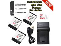 3x Battery For GoPro AHDBT-001 AHDBT-002 Battery & Charger For GoPro