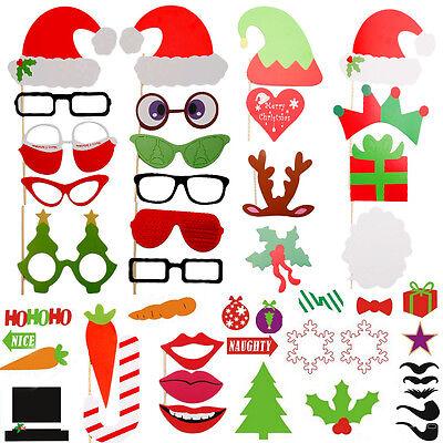 50tlg Weihnachten Party Foto Maske Schnurrbart Brille Photo Booth Props Set