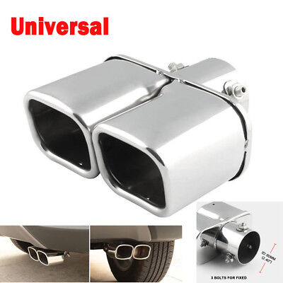 Dual Stainless Pipes - Stainless Steel Silver Dual Car Exhaust Tip Square Tail Pipe Muffler 60mm / 2.4