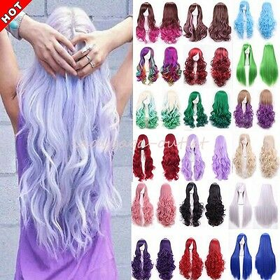 Fashion Cosplay Hair Wig Women Long Straight Curly Party Anime Costume Full Wigs - Costume Wigs Women