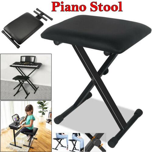 Folding Piano Keyboard Bench Padded Stool X Seat Chair Adjus