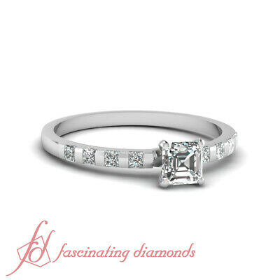 1.15 Ct White Gold Diamond Ring For Her With Asscher Cut And Round Accents GIA