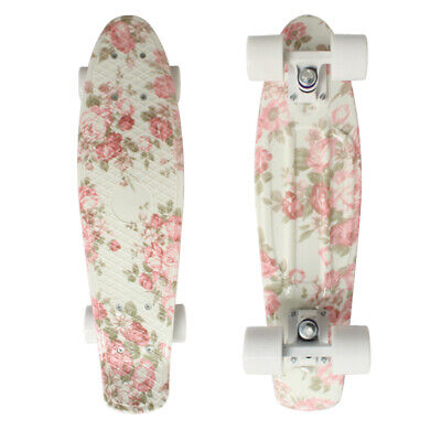 22 Cruiser Skateboard Penny Style Board Graphic Floral  Pink Free Shipping