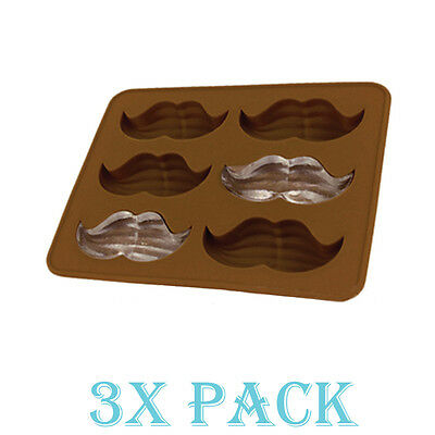 Set of 3 Moustache Mustache Mold Silicone Ice cube Chocolate Soap Candy Candle
