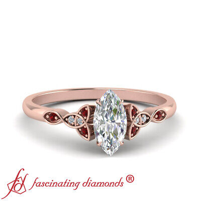 Celtic Knot Engagement Ring With 0.50 Ctw Marquise Cut Diamond And Ruby Gemstone