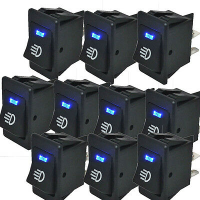 Hotsystem 10x 12v 35a Car Fog Light Rocker Switch 4pins Blue Led Dash Dashboard