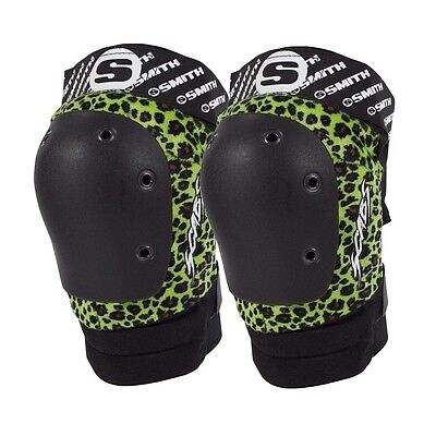 Smith Safety Gear Scabs ELITE KNEE Skateboard Pads GREEN LEOPARD S/M