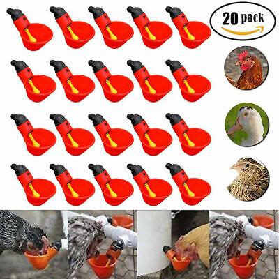 20pcs Poultry Water Waterer Chicken Hen Drinking Cups Plastic Automatic Drinker