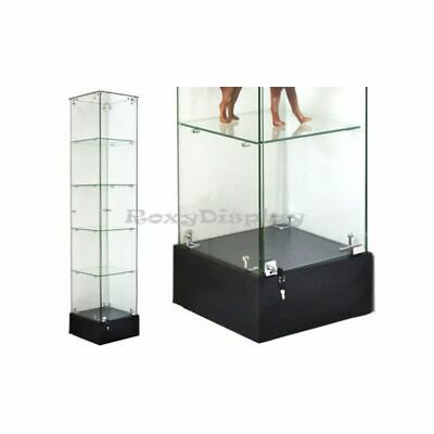 Rectangular Tempered All Glass Tower Display Showcase with Lock and -