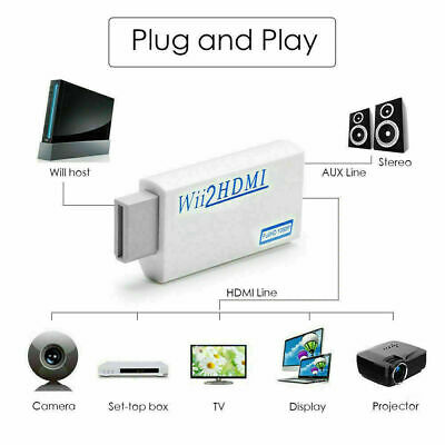 Portable Wii to HDMI Wii2HDMI Full HD Converter Audio Output Adapter TV White A+