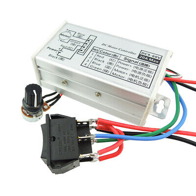 Dc 9-60v Pwm Motor Stepless Variable Speed Controller Reversible Switch Cw Ccw