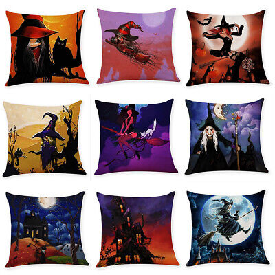 Home Decor Cushion Cover Happy Halloween Witch Throw Pillowcase Pillow Covers