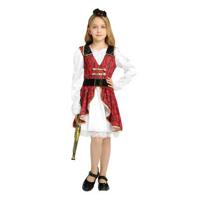 Pirate Girl Dress Up (Girl's Red Earl Pirate Dress Up Kids Costume Cosplay Halloween Party)