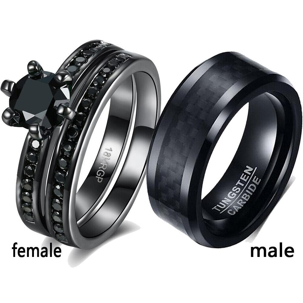 sz6-12 Couple Rings Titanium Black CZ Mens Ring Band Women's