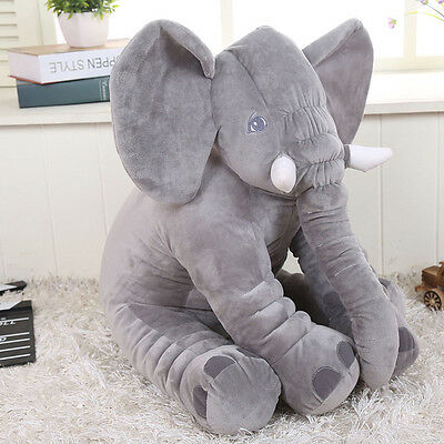 30cm Gray Long Nose Elephant Doll Pillow Plush Stuff Lumbar Sleep Baby Kids Toys