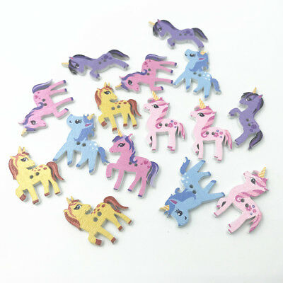 25X Mixed Wooden Buttons Unicorn shape Scrapbooking Sewing Kid's crafts 25-29mm