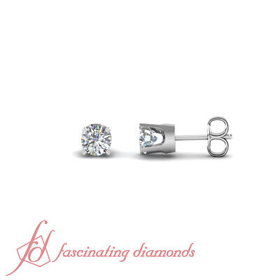1 Ct Round Cut Diamond GIA Certified Solitaire Stud Earrings Prong Set 14K Gold