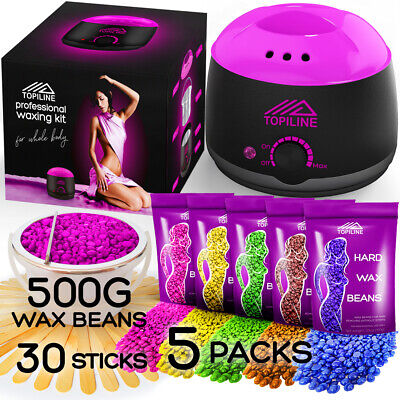 New Painless Waxing Kit with Wax Warmer for Facial Hair Removal for Women Men
