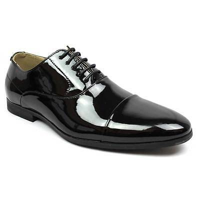 - New Men's Black Tuxedo Cap Toe Lace Up Oxford Dress Shoes Shiny Patent By AZAR