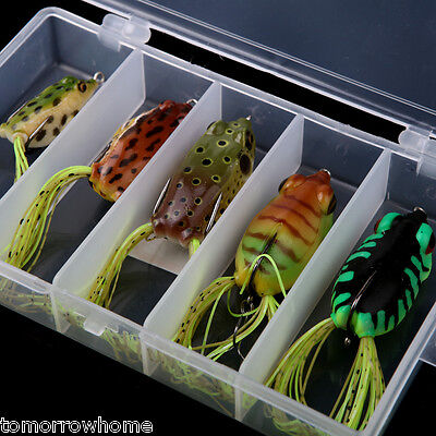 5Pcs Soft Baits Frog Lure Bass Hooks Bait Tackle Topwater Box New Fish Tackle