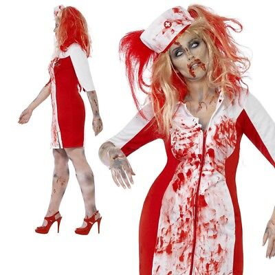 Plus Size Zombie Nurse Costume (Curves Zombie Nurse Costume Ladies Halloween Fancy Dress Plus Size)