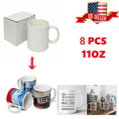 8pcs Blank White Mugs Aa Grade 11oz Sublimation Coated Mugs For Heat Press
