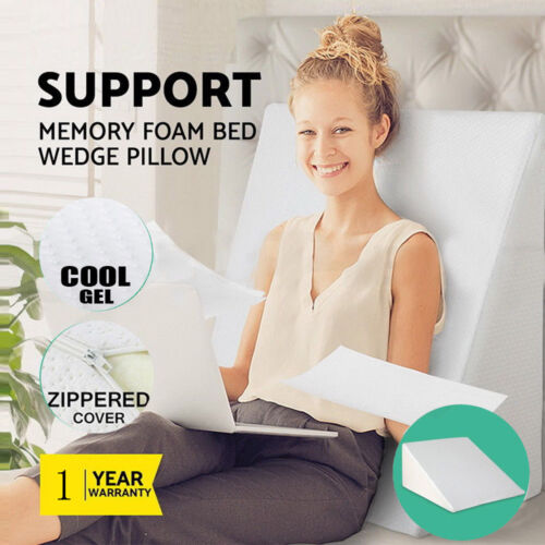 Extra Large 45D Memory Foam Bed Wedge Pillow Cushion Neck Ba