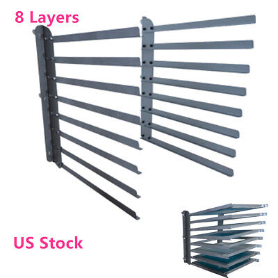 Wall Fixed 8 Layers Screen Printing Shop Rack Cart Storage Holder Frame