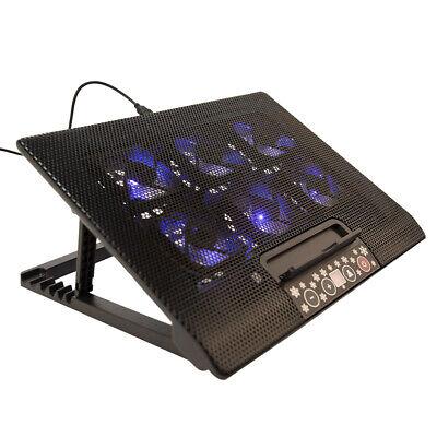 """6 Fans Laptop Cooler Mat Stand Tilt For 12"""" 15.4"""" 15.6"""" 17"""" Cooling Pad Black UK"""