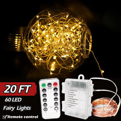 6m/20ft 60LEDs Copper Outdoor Remote Fairy String Lights for Xmas Garden