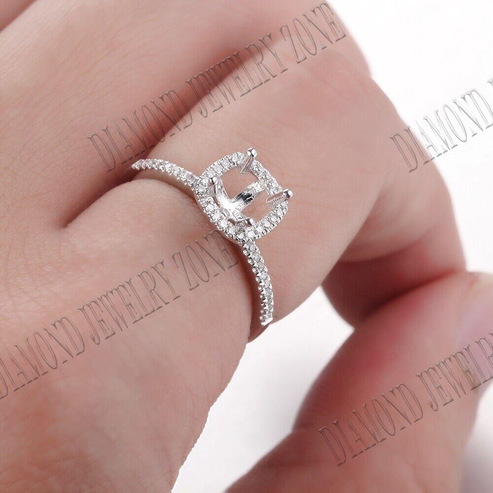 Diamonds Semi Mount Wedding Ring 4.5x4.5mm Cushion/Round 5-6mm 18k ...