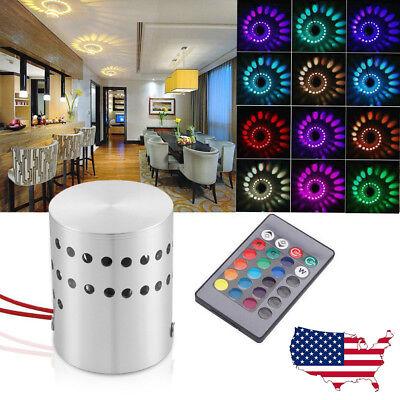 - 3W RGB Spiral LED Wall Light Sconces Lamp Decor Fixture Porch Bedroom Disco Bar