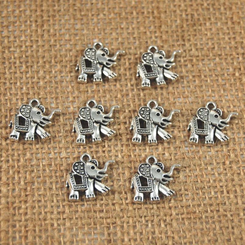 как выглядит 20 Pcs Tibetan Silver Elephant Charms Pendants DIY Making Accessory Jewelry фото