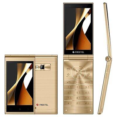 FREETEL MUSASHI DUAL SCREEN DISPLAY ANDROID 5.1 FLIP PHONE UNLOCKED Gold Free